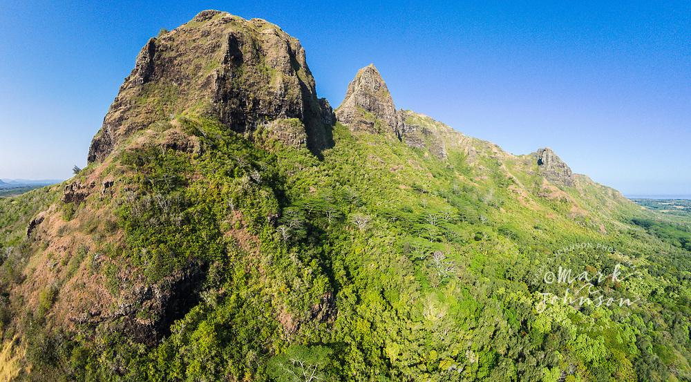 Aerial photograph of the Kalalea Mountains, Anahola, Kauai, Hawaii