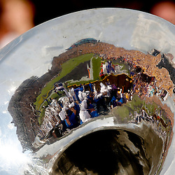 Oct 12, 2013; Baton Rouge, LA, USA; A detail of the reflection of the stadium seen on a tuba played by a member of the Florida Gators band during the first half of a game against the LSU Tigers at Tiger Stadium. Mandatory Credit: Derick E. Hingle-USA TODAY Sports