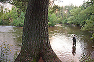 Fly fishing on the Bois Brule River near Brule, Wisconsin.