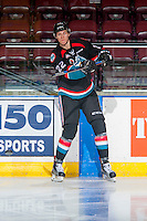 KELOWNA, CANADA - NOVEMBER 1: Braydyn Chizen #22 of the Kelowna Rockets warms up against the Kamloops Blazers on November 1, 2016 at Prospera Place in Kelowna, British Columbia, Canada.  (Photo by Marissa Baecker/Shoot the Breeze)  *** Local Caption ***