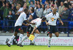 BOLTON, ENGLAND - Sunday, September 26, 2010: Bolton Wanderers' Zat Knight celebrates scoring the opening goal against Manchester United during the Premiership match at the Reebok Stadium. (Photo by David Rawcliffe/Propaganda)