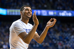 Kentucky guard Jamal Murray acknowledges fans in the crowd after making a three point basket in the second half.<br /> <br /> The University of Kentucky hosted the University of Florida, Saturday, Feb. 06, 2016 at Rupp Arena in Lexington .