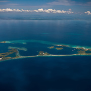 Aerial view of Pelican Cayes, South Water Caye Marine Reserve, Belize