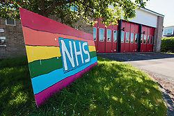 NHS support rainbow outside fire station during Coronavirus lockdown, Dorset UK May 2020