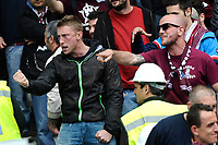 Tifosi Ultras della Torino<br /> Torino Supporters <br /> Fireworks exploded inside the stadium injured multiple fans. Before the match, Torino fans attacked the Juventus bus breaking a window<br /> Torino 26-04-2015, Stadio Olimpico, Football Calcio 2014/2015 Serie A TIM, Torino - Juventus, Foto Insidefoto