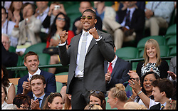 Great Britain's Olympians Anthony Joshua in the royal box at The Wimbledon Tennis Championships<br /> The All England Lawn Tennis Club, Wimbledon, United Kingdom<br /> Saturday, 29th June 2013<br /> Picture by Andrew Parsons / i-Images