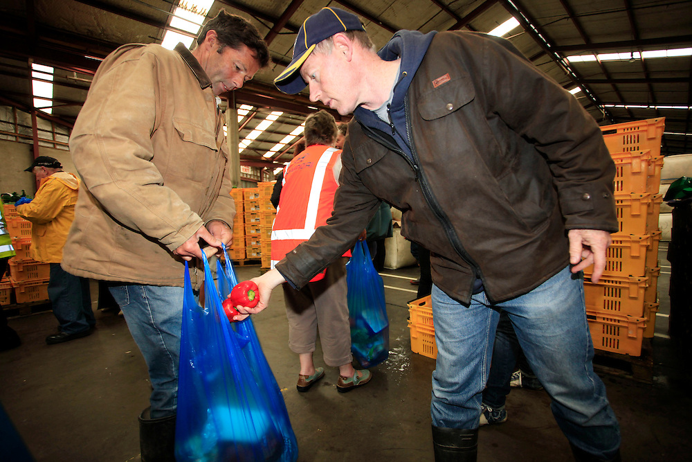 The Farmy Army's last operation, volunteers gathered to bag and distribute food hampers to agencies working with Christchurch's most vulnerable people,  Christchurch, New Zealand, Friday, December 16, 2011.  Credit:SNPA / Pam Johnson