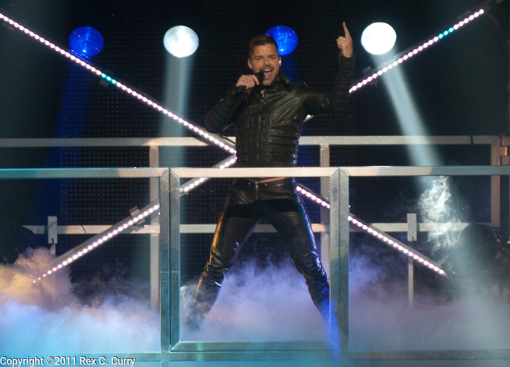 Ricky Martin performs during the Grand Prairie, Texas stop of his M.A.S. tour  on April 2, 2011..