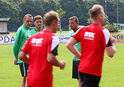29.06.2015, Ernst-Lehner-Stadion, Augsburg, GER, 1. FBL, FC Augsburg, Trainigsauftakt, Laktat-Test, im Bild Trainerteam beoabachtet die Spieler beim Laufen fuer den Laktat-Test, (v.li.) Tobias Zellner (Co-Trainer FC Augsburg), Wolfgang Beller (Co-Trainer FC Augsburg), Markus Weinzierl (Trainer FC Augsburg), // during a traning session of German 1st Bundeliga Club FC Augsburg at the Ernst-Lehner-Stadion in Augsburg, Germany on 2015/06/29. EXPA Pictures © 2015, PhotoCredit: EXPA/ Eibner-Pressefoto/ Krieger<br /> <br /> *****ATTENTION - OUT of GER*****