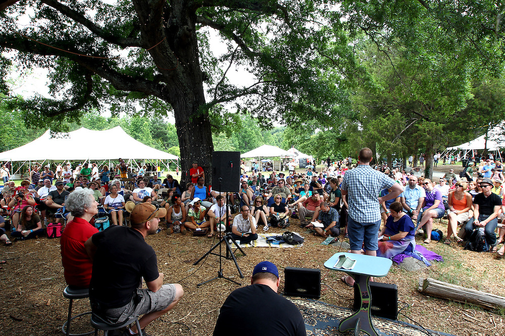 Paul Fromberg, standing at right, participates in a panel discussion on sexuality and justice at the Wild Goose Festival at Shakori Hills in North Carolina June 25, 2011.  (Photo by Courtney Perry)
