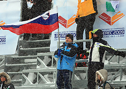 Fans od Slovenia at Ski Jumping ladies Normal Hill Individual of FIS Nordic World Ski Championships Liberec 2008, on February 20, 2009, in Jested, Liberec, Czech Republic. (Photo by Vid Ponikvar / Sportida)