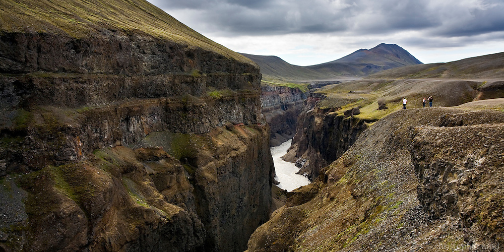 Hafrahvammaglj&uacute;fur Canyon in East Iceland, also known as Dimmuglj&uacute;fur (Dark Canyon). This is from the affected area of K&aacute;rahnj&uacute;kavirkjun Power Plant. The River was stopped on the 28th of September 2006 by a huge Dam, thus creating the H&aacute;lsl&oacute;n Resovoir.<br /> <br /> J&ouml;kuls&aacute; &aacute; Br&uacute; og Hafrahvammagl&uacute;fur. Glj&uacute;frin eru einnig nefnd Dimmuglj&uacute;fur. &Aacute;hrifasv&aelig;&eth;i virkjanaframkv&aelig;mda K&aacute;rahnj&uacute;kavirkjunar. F&oacute;lk &aacute; g&ouml;ngu a&eth; sko&eth;a glj&uacute;fri&eth;.