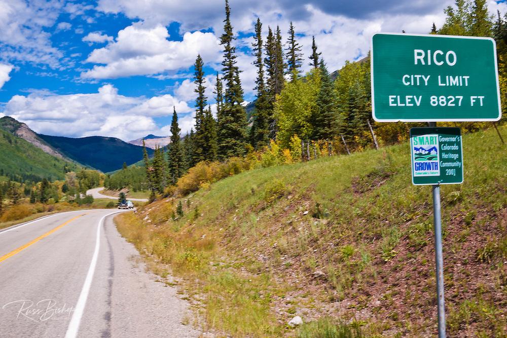 Rico town sign on the San Juan Skyway (Highway 145), San Juan National Forest, Colorado