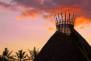 The crown of the Fivelements' Mandala Agung recalls an erupting volcano when cast against a Balinese sunset.