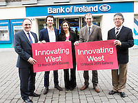 Repro free. PJ Kavanagh, Bank Of Ireland,(BOI),David Cunningham, Counterweight and Innovating West, Mary Nohilly, BOI,  John Breslin, NUIG and Innovating Wes and Declan Russell, BOI at the Sponsors launch of Innovating West which takes place in the Lifecourse Institute at NUIG .<br />  Innovating West, a one-day summit in Galway that will bring together innovators, creators, entrepreneurs and leaders to discuss how great teams and innovation ecosystems can be built in the West of Ireland. Photo:Andrew Downes