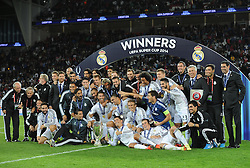 Real Madrid with the Uefa Super Cup - Photo mandatory by-line: Joe Meredith/JMP - Mobile: 07966 386802 12/08/2014 - SPORT - FOOTBALL - Cardiff - Cardiff City Stadium - Real Madrid v Sevilla - UEFA Super Cup
