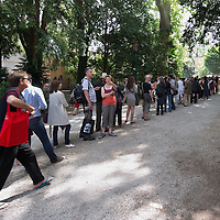 VENICE, ITALY - JUNE 01:  Long ques outside the British Pavillion at the Venice Biennale which host an installation by artist Mike Nelson on June 1, 2011 in Venice, Italy. This year's Biennale is the 54th edition and will run from June 4th until 27 November.