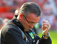 Picture by Paul Chesterton/Focus Images Ltd.  07904 640267.1/10/11.Norwich Manager Paul Lambert before the Barclays Premier League match at Old Trafford Stadium, Manchester.