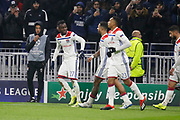 Cornet Maxwel of Lyon celebrates scoring his goal and Depay Memphis of Lyonduring the UEFA Champions league, Group F football match between Olympique Lyonnais and Manchester City on November 27, 2018 at Groupama stadium in Decines-Charpieu near Lyon, France - Photo Romain Biard / Isports / ProSportsImages / DPPI
