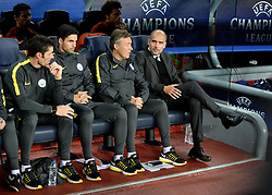 Manchester City manager Josep Guardiola in the Manchester City dugout at Barcelona, Nou Camp - Mandatory by-line: Dougie Allward/JMP - 19/10/2016 - FOOTBALL - Camp Nou - Barcelona, Catalonia - FC Barcelona v Manchester City - UEFA Champions League