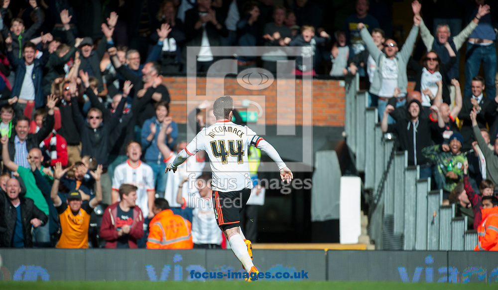 Fulham forward Ross McCormack celebrates his winning goal during the Sky Bet Championship match at Craven Cottage, London.<br /> <br /> Picture by Jack Megaw/Focus Images Ltd +44 7481 764811<br /> 25/04/2015