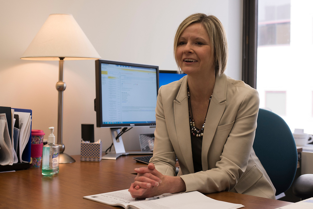 Research nurse Jennifer Lingler in her office at University of Pittsburgh's School of Nursing. Lingler researches Alzheimers Disease.