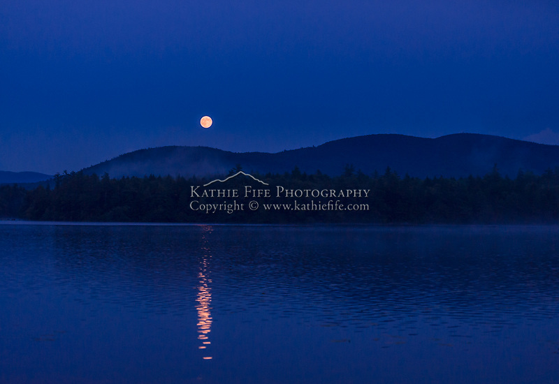 The Super Moon over Squam Lake, New Hampshire. August 10, 2014.  All Content is Copyright of Kathie Fife Photography. Downloading, copying and using images without permission is a violation of Copyright.