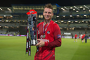Jos Buttler with the Natwest t20 Trophy NatWest T20 Blast final match between Northants Steelbacks and Lancashire Lightning at Edgbaston, Birmingham, United Kingdom on 29 August 2015. Photo by David Vokes.