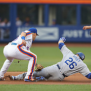 NEW YORK, NEW YORK - May 27:  Chase Utley #26 of the Los Angeles Dodgers is tagged out by Asdrubal Cabrera #13 of the New York Mets during the Los Angeles Dodgers Vs New York Mets regular season MLB game at Citi Field on May 27, 2016 in New York City. (Photo by Tim Clayton/Corbis via Getty Images)