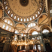Interior of Istanbul's Rustem Pasha Mosque near the Spice (Egyption) Market.