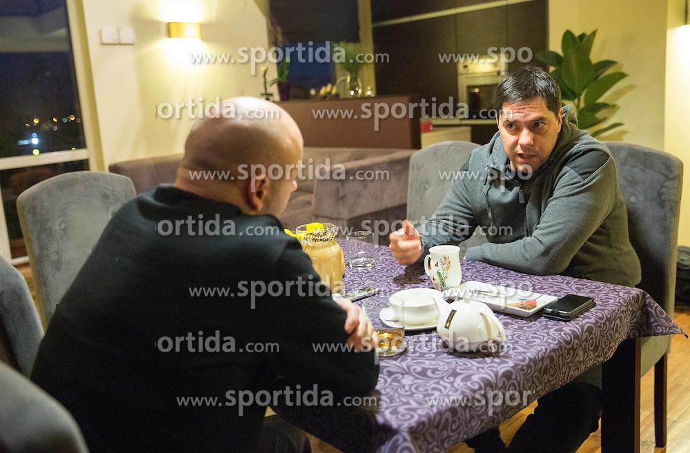 Saso Filipovski, head coach of basketball club Stelmet BC Zielona Gora (POL) at his home with journalist Lojze Grcman of Siol Sportal, on January 21, 2016 in Zielona Gora, Poland. Photo by Vid Ponikvar / Sportida