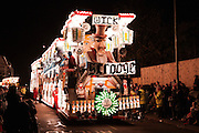 Photo of Scrooge, the entry by Wick CC for the 2010 carnival season, as seen in the heavy rain at Bridgwater Guy Fawkes Carnival.