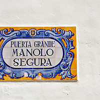Mosaicos de la puerta grande de Manolo Segura. Málaga, Andalucia. España. Mosaics of the front door of Manolo Segura. Malaga, Andalucia. Spain