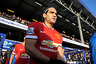 Radamel Falcao of Manchester United enters the pitch before k/o.Barclays Premier league match, Queens Park Rangers v Manchester Utd at Loftus Road in London on Saturday 17th Jan 2015. pic by John Patrick Fletcher, Andrew Orchard sports photography.