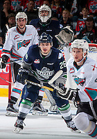 KELOWNA, CANADA - APRIL 23: Nolan Volcan #26 of Seattle Thunderbirds looks for the pass in front of the net during second period against the Kelowna Rockets on April 23, 2016 at Prospera Place in Kelowna, British Columbia, Canada.  (Photo by Marissa Baecker/Shoot the Breeze)  *** Local Caption *** Nolan Volcan;