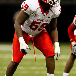 November 10, 2011; New Orleans, LA, USA; Houston Cougars defensive lineman Kelvin King (59) against the Tulane Green Wave during the second quarter at the Mercedes-Benz Superdome.  Mandatory Credit: Derick E. Hingle-US PRESSWIRE