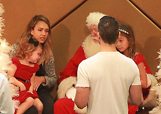 DEC 06 2014 Jessica Alba takes the girls to see Santa Clause