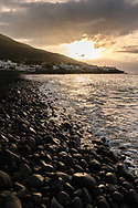 Sunset at the beach of Stromboli, Liparic Islands, Italy