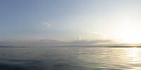 Le lac Léman, vue au large de Morges, 1er juillet 2018.