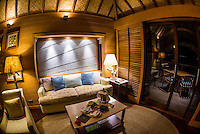 Interior of an overwater bungalow, Four Seasons Resort Bora Bora, French Polynesia.