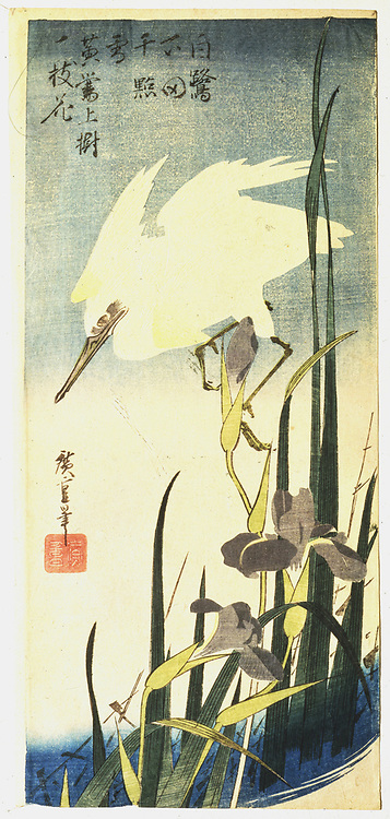 White Heron and Purple Iris', c1830.  Coloured Woodblock print. Ando Hiroshige  also called Ando Tokutaro (1797-1858) Japanese artist and printmaker.