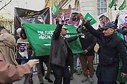 Rival demonstration in Downing St. in support of the visit to England of the ruler of Saudi Arabia  Crown Prince Mohammed bin Salman . 7 March 2018