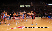 General Veiw, Anna Thompson Tactix captain passing the ball during the ANZ Championship Netball game between the Tactix v Steel at Horncastle Arena in Christchurch. 6th April 2015 Photo: Joseph Johnson/www.photosport.co.nz
