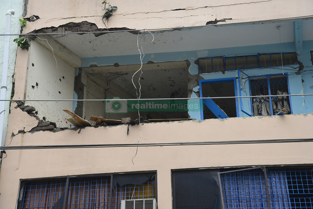 August 15, 2017 - Dhaka, Bangladesh - The boom explosion spot in Dhaka, Bangladesh, on August 15, 2017. A suspected militant has been killed in an operation at a hotel in Dhaka's Panthapath area where lawmen conducted a raid suspecting a militant hideout this morning at Hotel Olio International in Dhaka, Bangladesh. (Credit Image: © Str/NurPhoto via ZUMA Press)