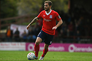 Josh Law of York City (7) in action during the Vanarama National League match between York City and Kidderminster Harriers at Bootham Crescent, York, England on 15 September 2018.