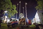Satellite trucks outside the Presidential Debate in St. Louis between Donald J. Trump and Hillary Clinton.