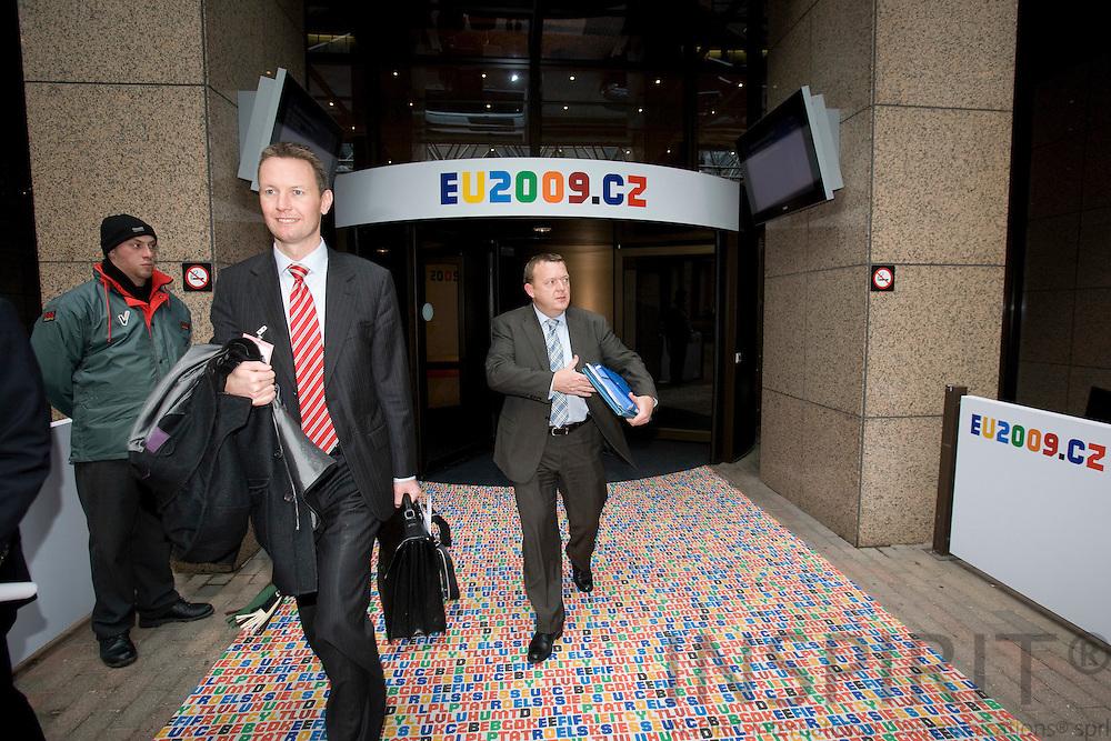 BRUSSELS - BELGIUM - 10 MARCH 2009 --  Finansminister Lars Løkke Rasmussen efter Finansministernes EU rådsmøde i Bruxelles.  Photo: Erik Luntang