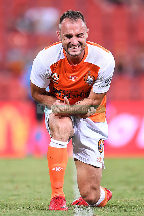 January 18, 2018 - Brisbane, QUEENSLAND, AUSTRALIA - Ivan Franjic of the Roar (#77) looks in pain during the round seventeen Hyundai A-League match between the Brisbane Roar and the Perth Glory at Suncorp Stadium on January 18, 2018 in Brisbane, Australia. (Credit Image: © Albert Perez via ZUMA Wire)