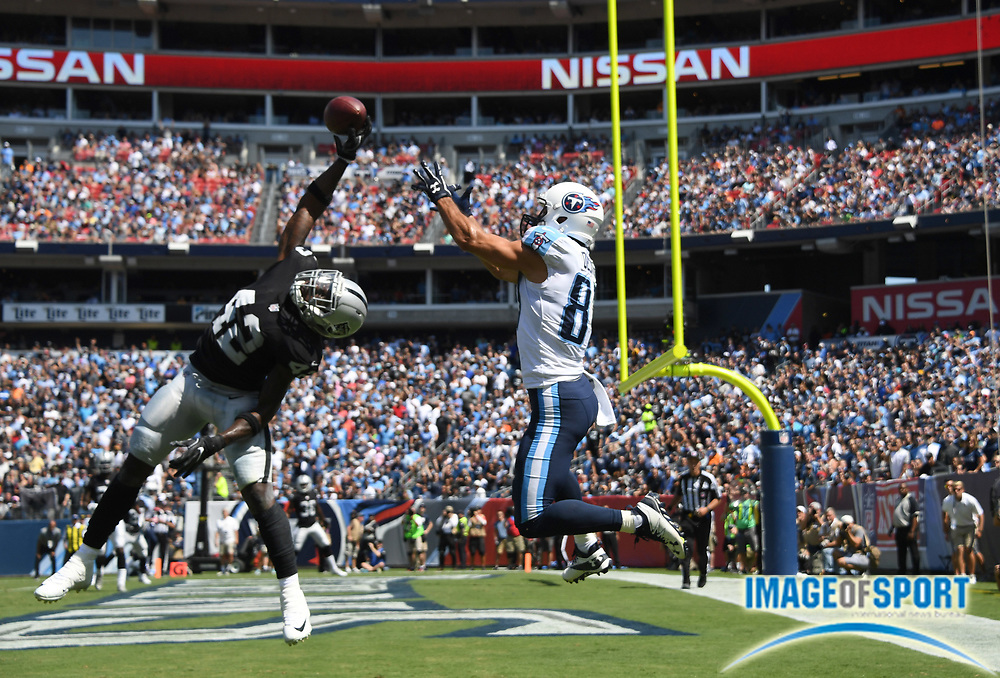 Sep 10, 2017; Nashville, TN, USA; Oakland Raiders strong safety Karl Joseph (42) deflects a pass intended for Tennessee Titans wide receiver Eric Decker (87) in the second quarter during a NFL football game at Nissan Stadium.