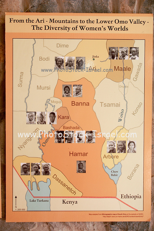 Anthropological map of the Geographical distribution of the various tribes of Ethiopia Omo Vally region